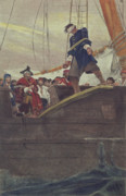 Galleon Posters - Walking the Plank Poster by Howard Pyle