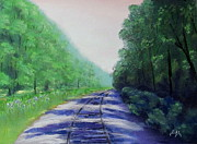 Woods Pastels Prints - Walking the Rails Print by Scott Leckrone