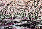 Sakura Paintings - Walking through the sakura garden by Yana Lopushok