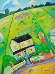 Old Houses Painting Posters - Walking with God Poster by Debbie Warnock