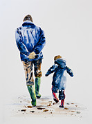 60s Paintings - Walking with Grandad by Denise Hammond-Webb