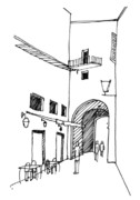 Sienna Italy Drawings Prints - Walkway Print by Nora Medellin