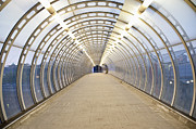 Architectural Detail Framed Prints - Walkway Tunnel in the Canary Wharf at Twilight Framed Print by John Harper