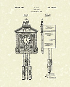 Clock Drawings - Wall Clock 1940 Patent Art by Prior Art Design