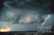 Electrical Potential Prints - Wall Cloud With Lightning Print by Science Source