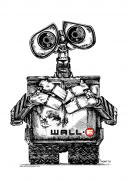 Pen And Ink Drawings Metal Prints - Wall-e Metal Print by James Sayer