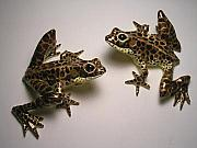 Pond Sculptures - Wall Hanging Frogs by Ward Morgan