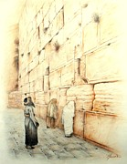 Israel Drawings - Wall by Lena Day