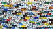 Letters Framed Prints - Wall of American License Plates Framed Print by Christine Till