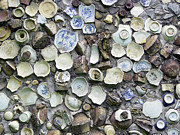 Pottery Sculpture Prints - Wall Of Ancient Pottery Shards  Print by Judith Birtman