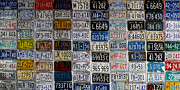 License Plates Prints - Wall of License Plates Print by Andrew Fare