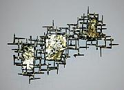 Retro Sculptures - Wall Sculpture - Abstract Meteor Storm by Buzz Leighton