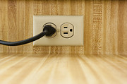 Electric Plug Prints - Wall Socket With Power Cable Print by Sam Bloomberg-rissman
