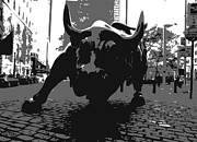 Wall Street Digital Art Prints - Wall Street Bull BW3 Print by Scott Kelley