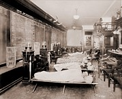 Finance Photo Prints - Wall Street Clerks Sleeping In Office Print by Everett