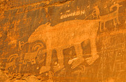 Petroglyph Prints - Wall Street Cliffs Petroglyph - Moab Print by Gary Whitton