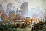 Nyc Skyline Paintings - Wall Street Ferry Ship by Colin Campbell Cooper