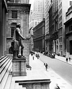 George Washington Photo Framed Prints - Wall Street Is Virtually Deserted Framed Print by Everett
