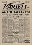 Headlines Posters - Wall Street Lays An Egg. Famous Poster by Everett