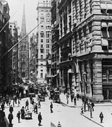 Old And New Posters - Wall Street looking toward Old Trinity Church - New York City - c 1910 Poster by International  Images