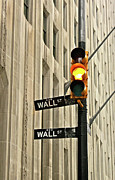 Text Photo Prints - Wall Street Traffic Light Print by Oonat