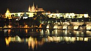St Charles Bridge Posters - Wallenstein Palace at Night Poster by Nimmi Solomon