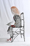 Chair Sculpture Posters - Wallflower in Tight Red Shoes Poster by Charlene White