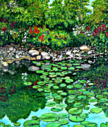Lilly Pond Painting Prints - Wallingford pond Print by Will Lewis