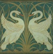 Crane Painting Framed Prints - Wallpaper Design for panel of Swan Rush and Iris Framed Print by Walter Crane