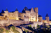 Carcassonne Prints - Walls of the medieval city at dusk in Carcassonne Print by Sami Sarkis