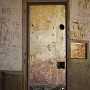 Indoors Photos - Walls with graffiti in an abandoned house. by Bernard Jaubert