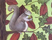 Folk Print Digital Art Posters - Wally Squirrel Poster by Wendy Presseisen