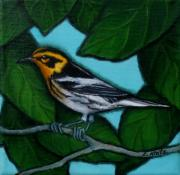 Little Birds Paintings - Wally the Warbler by Lorraine Klotz