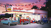 Adult Male Posters - Wallys Service Station Poster by Bruce Kaiser