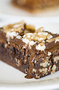 Moist Prints - Walnut brownie on a white plate Print by Ulrich Schade
