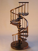 Architecture Sculpture Metal Prints - Walnut spiral staircase  Metal Print by Don Lorenzen