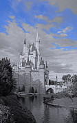 Fantasy Pyrography Prints - Walt Disney World - Cinderella Castle Print by AK Photography