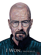 Shirts Framed Prints - Walter White - I Won Framed Print by Tom Roderick