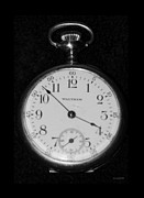 Clock Hands Digital Art Prints - WALTHAM POCKETWATCH in BLACK AND WHITE Print by Rob Hans