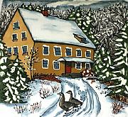 Winter Tapestries - Textiles Prints - Wandering Geese Print by Linda Marcille