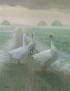 Winter Landscape Paintings - Wandering Geese by Steve Mitchell