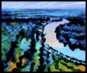 River View Paintings - Wandering River by John Lautermilch