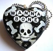 Humor Jewelry - Wanna Bone - A Halloween Skull and Bone Necklace by Razz Ace