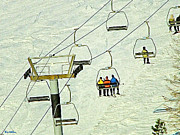 Skiing Art Cards Prints - Wanna Lift Print by Wendy McKennon
