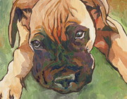 Boxer Puppy Paintings - Wanna Play by Sandy Tracey