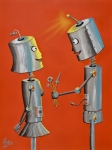 Robot Metal Prints - Wanna Screw Metal Print by Chris  Fifty-one