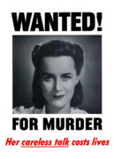 United States Government Prints - Wanted For Murder Print by War Is Hell Store