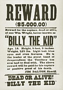 1880s Posters - Wanted Poster For Billy The Kid Poster by Everett