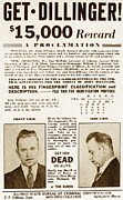 """bank Robber"" Framed Prints - Wanted Poster For John Dillinger Framed Print by Everett"
