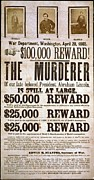 1860s Framed Prints - Wanted Poster For The Assassins Framed Print by Everett